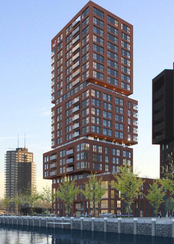 Gebouw Stack in Rotterdam met hout aluminium kozijnen van Duet zijaanzicht