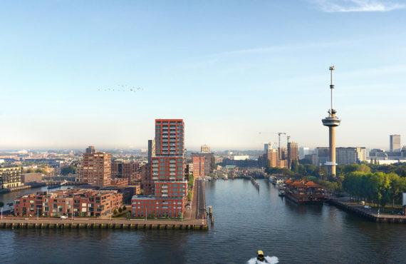 Gebouw Stack in Rotterdam met hout aluminium kozijnen van Duet verte
