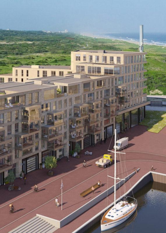 Deelproject ZuidHaven in Scheveningenmet hardhouten basis Duet - zijaanzicht links