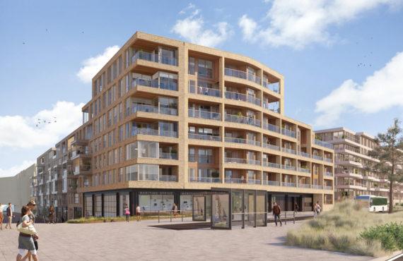 Deelproject ZuidHaven in Scheveningenmet hardhouten basis Duet - zijaanzicht rechts