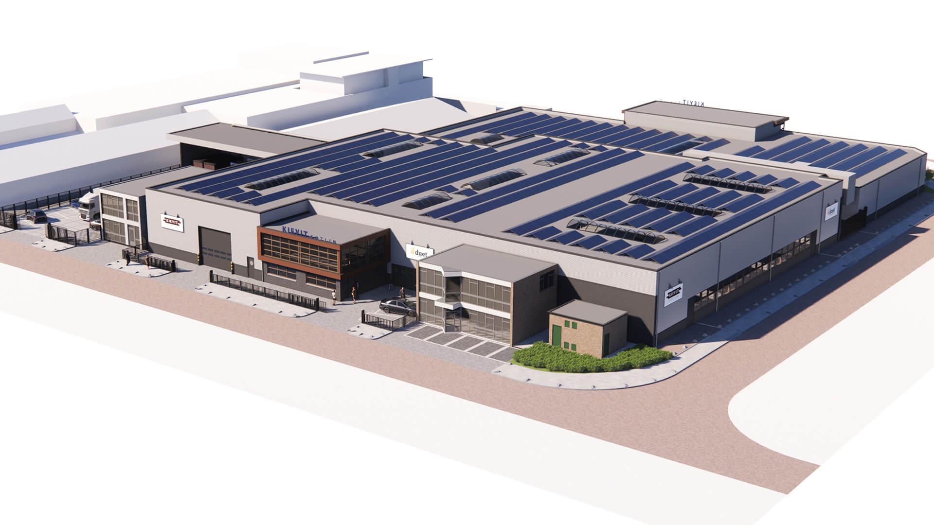 Nieuwbouw kozijnfabriek render voorzijde voor duet en Kievit kozijnen