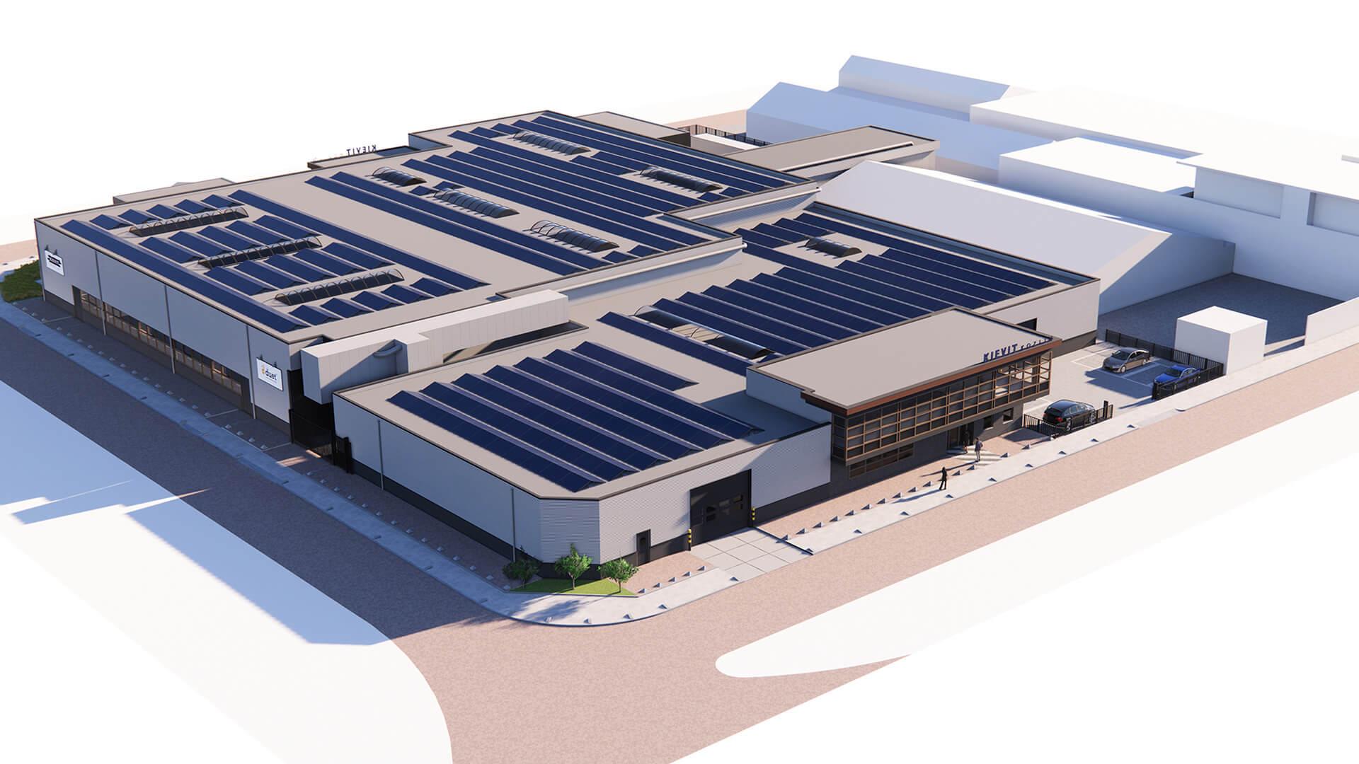 Nieuwbouw kozijnfabriek render achterzijde voor duet en Kievit kozijnen