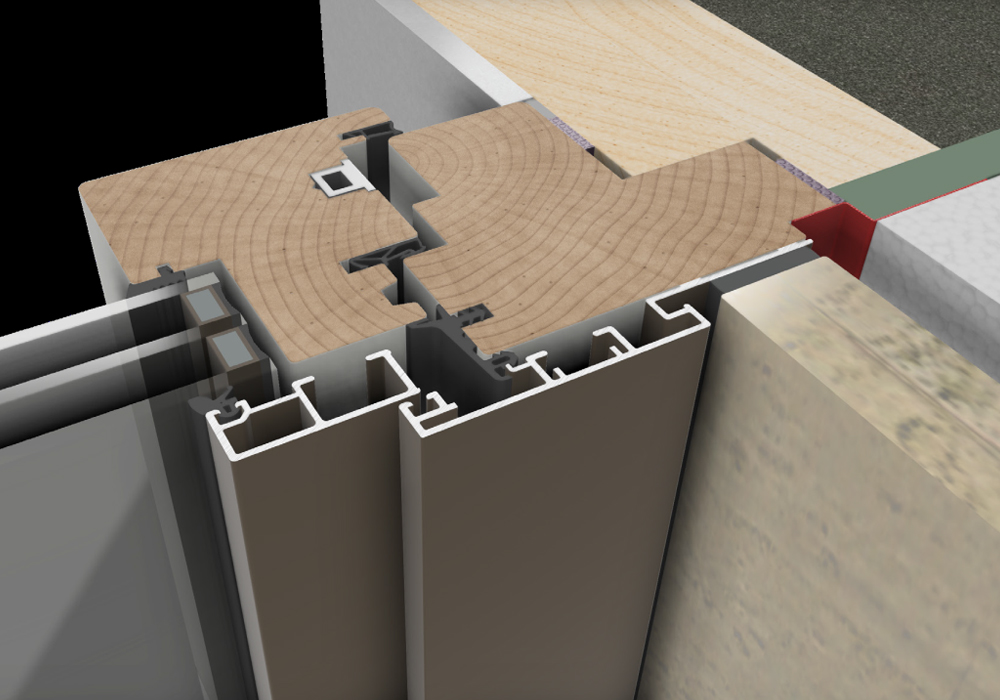 Duet render doorsnede hout-aluminium kozijn