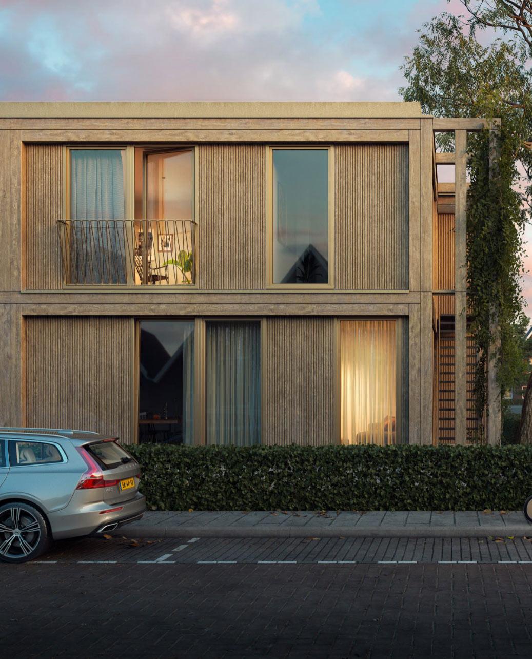 Vooraanzicht Van Nieuwe Starterswoningen In Steenbergen